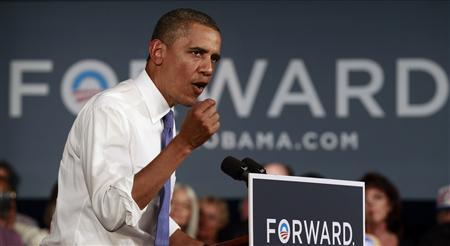 U.S. President Barack Obama speaks during a campaign event at West Palm Beach Century Village in Florida July 19, 2012. Obama is on a two-day campaign swing through Florida. REUTERS/Kevin Lamarque