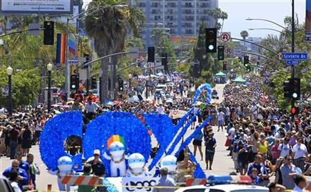 Thousands of people attend San Diego's Gay Pride Parade in San Diego, July 16, 2011. REUTERS/Mike Blake