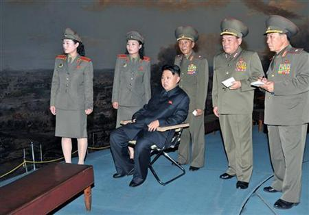 North Korean leader Kim Jong-Un (seated) visits the Victorious Fatherland Liberation War Museum in Pyongyang July 8, 2012 in this picture released by the North's KCNA news agency. REUTERS/KCNA