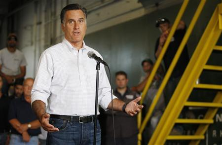 U.S. Republican presidential candidate and former Massachusetts Governor Mitt Romney gives a statement to reporters gathered at Middlesex Truck and Coach after he toured the facility during a campaign event in Roxbury, Massachusetts July 19, 2012. REUTERS/Jessica Rinaldi