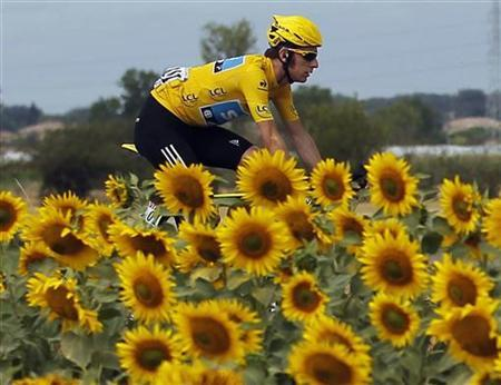 Sky Procycling rider and leader's yellow jersey Bradley Wiggins of Britain cycles past sunflowers during the 18th stage of the 99th Tour de France cycling race between Blagnac and Brive-La-Gaillarde, July 20, 2012. REUTERS/Stephane Mahe