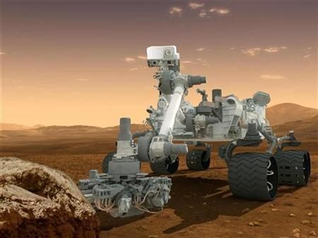 This artist's concept features NASA's Mars Science Laboratory Curiosity rover, a mobile robot for investigating Mars' past or present ability to sustain microbial life as seen in this handout NASA image received by Reuters June 8, 2012. REUTERS/NASA/JPL-Caltech/Handout