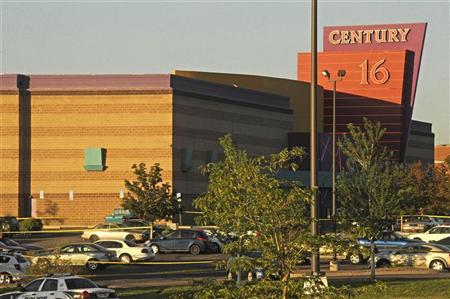 The Century 16 Theatre where a masked gunman killed 14 people at a midnight showing of the new Batman movie in Aurora, Colorado July 20, 2012. REUTERS/Evan Semon
