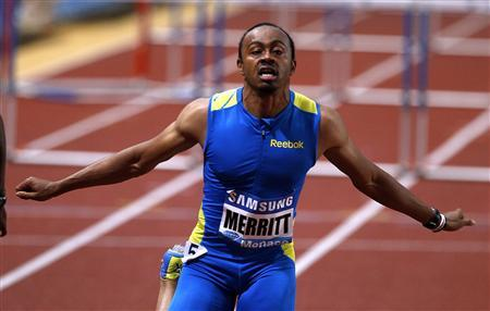 Aries Merritt of the U.S. reacts after winning the men's 100m hurdles event at the Herculis Athletics Meet at Louis II stadium in Monaco July 20, 2012. REUTERS/Eric Gaillard