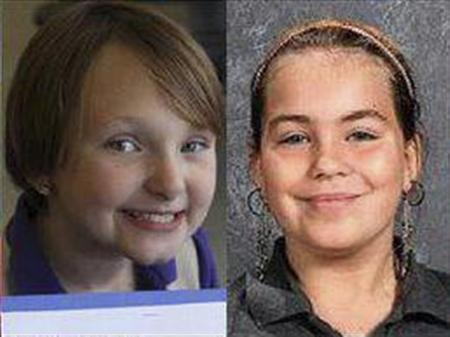 Elizabeth Collins, 8, and Lyric Cook, 10, (R) are pictured in this handout photo from Black Hawk County Sheriff, received by Reuters July 16, 2012. REUTERS/Black Hawk County Sheriff/Handout