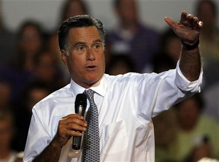 U.S. Republican presidential candidate Mitt Romney speaks at a Victory town hall in Bowling Green, Ohio, July 18, 2012. REUTERS/Matt Sullivan