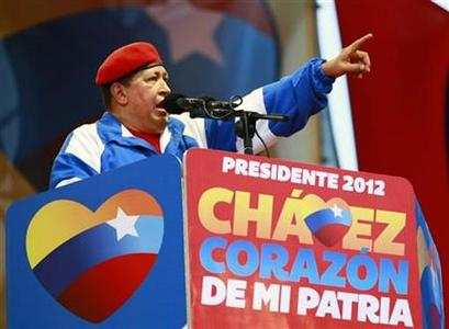 Venezuela's President Hugo Chavez talks to supporters during an election rally in Maracaibo July 21, 2012. REUTERS/Isaac Urrutia