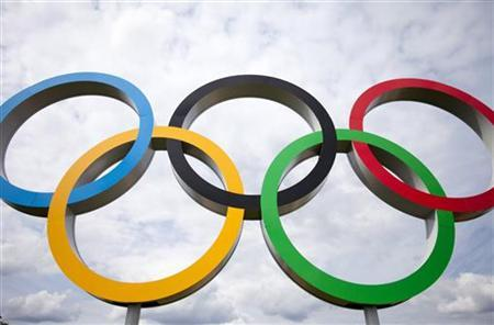 View of Olympic Rings near the Velodrome in the Olympic Park in Stratford, London, July 21, 2012. REUTERS/Neil Hall