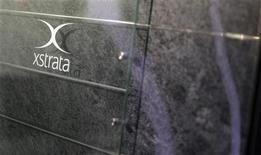 A logo of the Swiss mining company Xstrata is pictured at its headquaters in Zug, February 6, 2012. REUTERS/Romina Amato