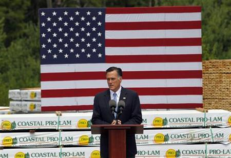 Republican presidential candidate and former Massachusetts Governor Mitt Romney delivers remarks about the shooting in Colorado during what was supposed to be a campaign event at Coastal Forest Products in Bow, New Hampshire July 20, 2012. REUTERS/Jessica Rinaldi