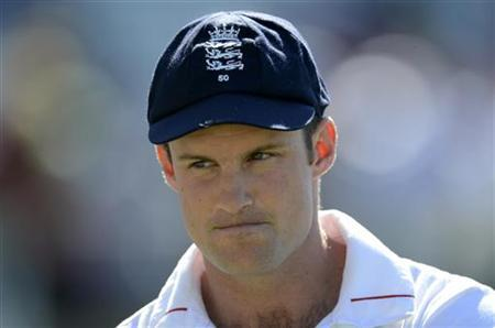 England's captain Andrew Strauss waits for the presentations after South Africa defeated England in the first cricket test match at the Oval cricket ground in London July 23, 2012. REUTERS/Philip Brown
