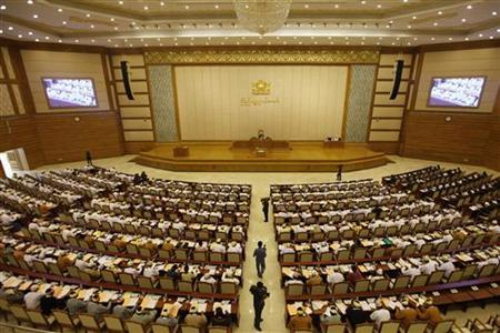 Members of parliament attend the opening of the Lower House session in Naypyitaw July 4, 2012. REUTERS/Soe Zeya Tun