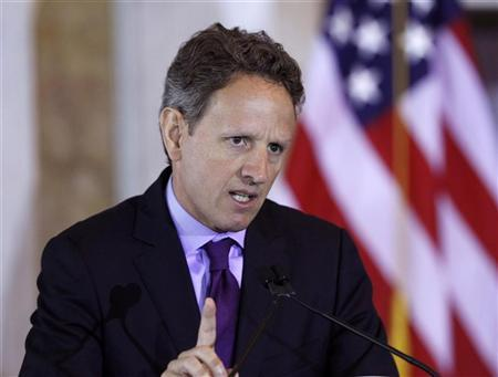 Secretary of the Treasury Timothy Geithner delivers his opening remarks June 7, 2012 at the Treasury Department in Washington during the Development Impact Honors ceremony. REUTERS/Gary Cameron