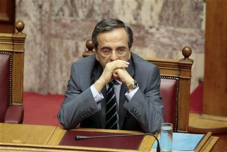 Greece's Prime Minister Antonis Samaras attends a parliament session in Athens July 7, 2012. REUTERS/Yorgos Karahalis