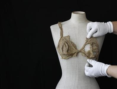 A brassiere from the late Middle Ages is pictured at the University of Innsbruck, archaeology department July 24, 2012. REUTERS/Michaela Rehle