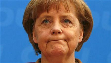 Christian Democratic Union (CDU) party leader and Chancellor Angela Merkel attends a news conference in Berlin, May 14, 2012. REUTERS/Fabrizio Bensch