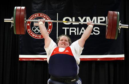 Holley Mangold of the U.S. performs her 145 kg weightlifting clean and jerk lift during the 2012 U.S. Olympic Trials at the Arnold Sports Festival in Columbus, Ohio, March 4, 2012. REUTERS/Matt Sullivan