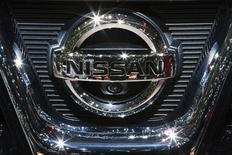 A Nissan logo is seen on the car maker's booth during the first media day of the Geneva Auto Show at the Palexpo in Geneva, March 6, 2012. REUTERS/Valentin Flauraud