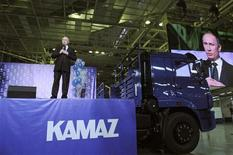 Russia's Prime Minister Vladimir Putin delivers a speech as he visits the Kamaz truck manufacturing plant in Naberezhnye Chelny in the Republic of Tatarstan February 15, 2012. REUTERS/Yana Lapikova/RIA Novosti/Pool