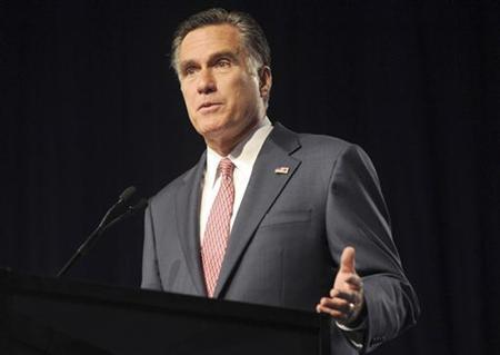U.S. Republican presidential candidate and former Massachusetts Governor Mitt Romney addresses the 113th Veterans of Foreign Wars (VFW) National Convention in Reno, Nevada, July 24, 2012. REUTERS/James Glover