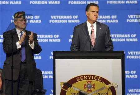 Republican presidential candidate and former Massachusetts Governor Mitt Romney (R) is applauded while addressing the 113th Veterans of Foreign Wars (VFW) National Convention in Reno, Nevada, July 24, 2012. REUTERS/James Glover