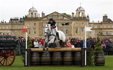 South Africa's Alexander Peternell on Tiger's Eye II navigates a jump in front of Badminton House during the cross country on the third day of The Badminton Horse Trials in Badminton, western England May 2, 2010. REUTERS/Eddie Keogh