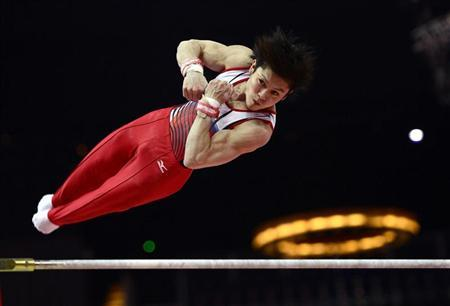 Kohei Uchimura of Japan attends a gymnastics training session at the O2 Arena before the start of the London 2012 Olympic Games in London July 25, 2012. REUTERS/Dylan Martinez