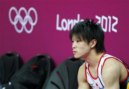 Kohei Uchimura of Japan attends a gymnastics training session at the O2 Arena before the start of the London 2012 Olympic Games in London July 25, 2012. REUTERS/Mike Blake