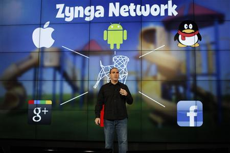 Zynga General Manager Manuel Bronstein speaks during the Zynga Unleashed event at the company's headquarters in San Francisco, California in this June 26, 2012, file photo. The social gaming company slashed its 2012 earnings outlook after its second-quarter results badly missed Wall Street's targets, sending its stock plunging more than 40 percent to a record low. REUTERS/Stephen Lam/Files