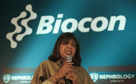 Kiran Mazumdar-Shaw, chairman and managing director of Biocon Ltd., speaks during a news conference in the southern Indian city of Bangalore March 8, 2007. REUTERS/Jagadeesh Nv