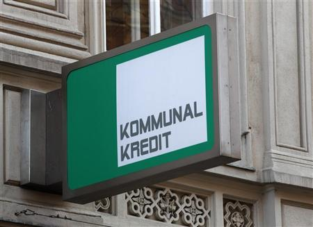 The logo of Kommunalkredit is pictured in front of its headquarters building in Vienna, March 5, 2012. REUTERS/Heinz-Peter Bader