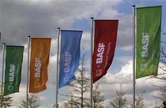 Флаги с логотипами BASF в Монхайме (Германия), 20 апреля 2012 года. Гигант химической отрасли BASF сохранил годовой прогноз роста операционной прибыли, заявив, что показатели его нефтегазового бизнеса более чем компенсируют ослабление ключевого отделения. REUTERS/Ina Fassbender