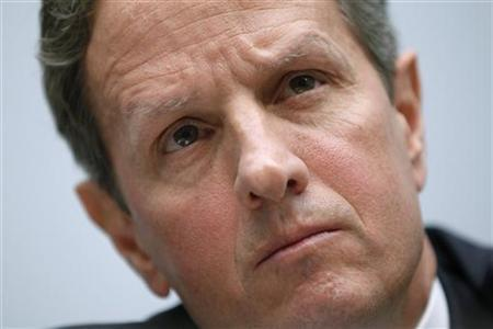 Treasury Secretary Timothy Geithner testifies regarding the annual report of the Financial Stability Oversight Council before the House Financial Services Committee on Capitol Hill in Washington, July 25, 2012. REUTERS/Jonathan Ernst