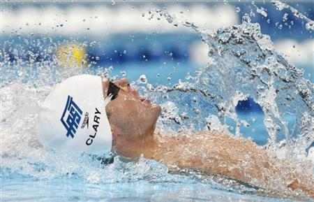 Tyler Clary swims his men's 200m backstroke semifinal during the U.S. Olympic swimming trials in Omaha, Nebraska, June 29, 2012. REUTERS/Jeff Haynes