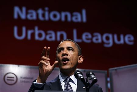 U.S. President Barack Obama talks at the 2012 National Urban League convention at the Ernest N. Morial Convention Center in New Orleans, July 25, 2012. REUTERS/Larry Downing