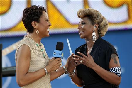 Singer Mary J. Blige speaks with ABC's Good Morning America host Robin Roberts (L ) before performing in New York's Central Park, June 22, 2012. REUTERS/Keith Bedford