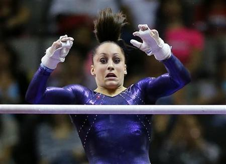 U.S. gymnast Jordyn Wieber performs on the uneven bars at the U.S. Olympic gymnastics trials in San Jose, California July 1, 2012. REUTERS/Mike Blake