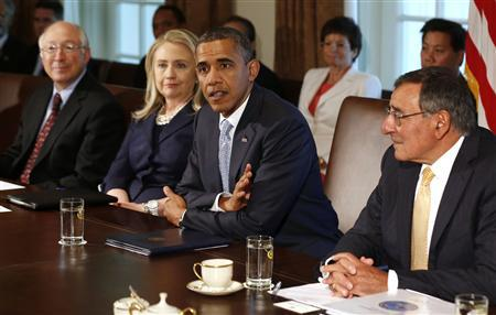 U.S. President Barack Obama speaks at a Cabinet Meeting in the Cabinet Room at the White House in Washington, July 26, 2012. REUTERS/Larry Downing