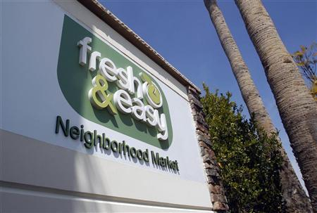 A view shows the logo of the Fresh & Easy Neighborhood Market meat processing facility in Riverside, California March 29, 2012. REUTERS/Alex Gallardo