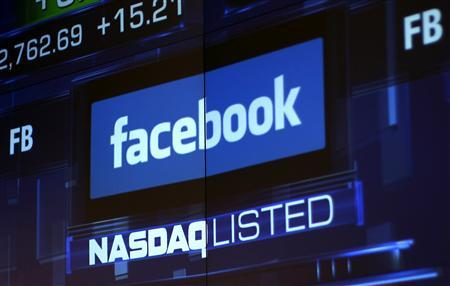 Monitors show the value of the Facebook, Inc. stock during morning trading at the NASDAQ Marketsite in New York in this file photo taken June 4, 2012. REUTERS/Eric Thayer/Files
