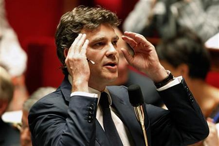 Arnaud Montebourg, France's Minister for Industrial Recovery, attends the ministers' question session at the National Assembly in Paris July 25, 2012. REUTERS/Charles Platiau
