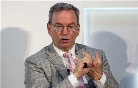 Google Executive Chairman Eric Schmidt speaks at the Global Investment Conference in London July 26, 2012. REUTERS/Neil Hall