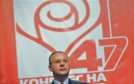 Former Bulgarian Prime Minister and Bulgarian Socialist Party (BSP) leader Sergei Stanishev listens to the national anthem during a session of the 47th pa(BULGARIA - Tags: POLITICS)