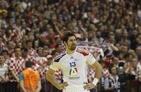 France's Nikola Karabatic reacts after defeat against Croatia at their Men's European Handball Championship main round match in Novi Sad January 24, 2012. REUTERS/Stoyan Nenov
