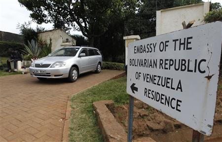 A car drives from the residence of slain charge d'affaires Olga Fonseca at Venezuela's embassy at the Runda neighbourhood in Kenya's capital Nairobi July 27, 2012. REUTERS/Thomas Mukoya