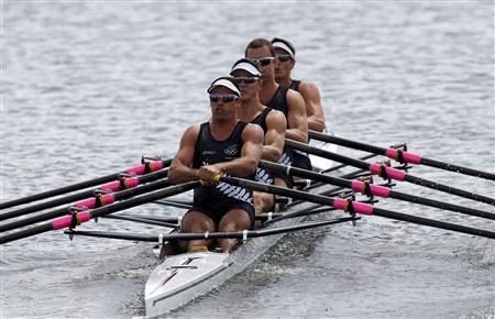 New Zealand's team rows during the men's rowing quadruple sculls heat at the Eton Dorney during the London 2012 Olympic Games July 28, 2012. REUTERS/Jim Young