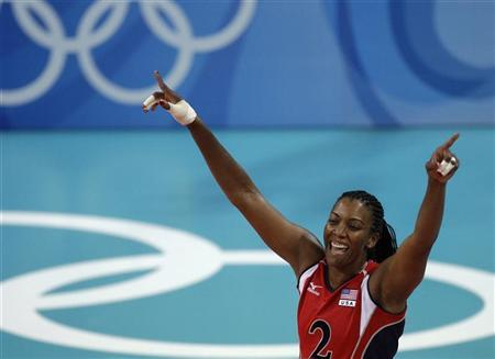Danielle Scott-Arruda of the U.S. celebrates a point during their women's preliminary pool A volleyball match against Venezuela at the Beijing 2008 Olympic Games August 13, 2008. REUTERS/Alexander Demianchuk