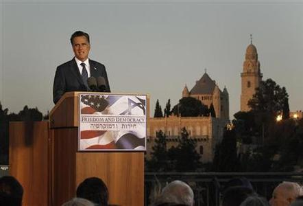 U.S. Republican Presidential candidate Mitt Romney delivers foreign policy remarks at Mishkenot Sha'anamim in Jerusalem, July 29, 2012. REUTERS/Jason Reed
