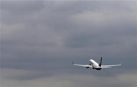 A Ryanair passenger jet takes off from Manchester Airport in Manchester, northern England April 24, 2012. REUTERS/Phil Noble