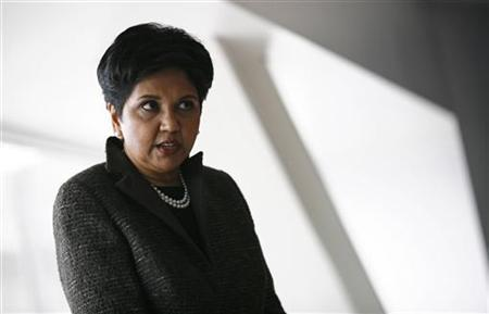 PepsiCo Chairman and Chief Executive Officer Indra Nooyi speaks to reporters during PepsiCo's 2010 Investor Meeting event in New York, March 22, 2010. REUTERS/Mike Segar/Files
